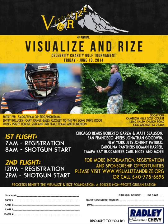 "Chicago Bears Jermon Bushrod's 4th annual ""Visualize and Rize"" Celebrity Charity Golf Tournament"