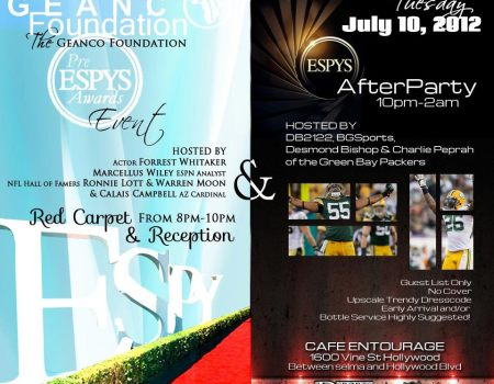 Pre ESPY Party w/Forrest Whitaker, Packers Charlie Peprah, Desmond Bishop, Cardinals Calais Campbell & Marcellus Wiley!